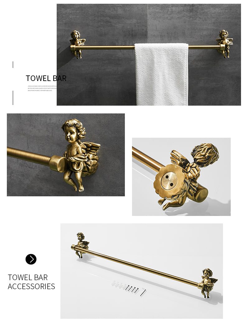 Bronze Angel Bathroom Fittings Soap Dish Robe Hook Cup Holder Toilet Paper Holder Glass Shelf Towel Bath Neo Classic Home Deco Washroom Bathroom Hardware