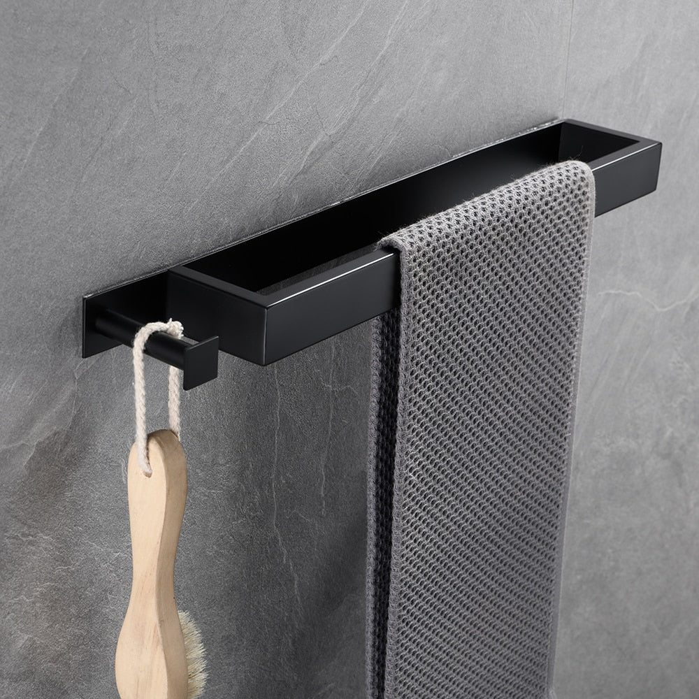 Contemporary Design Stainless Steel Bathroom Towel Rack With Hook Options Self-Adhesive Wall Mounted Requires No Drilling Modern Stainless Steel Kitchen Bathroom Accessories