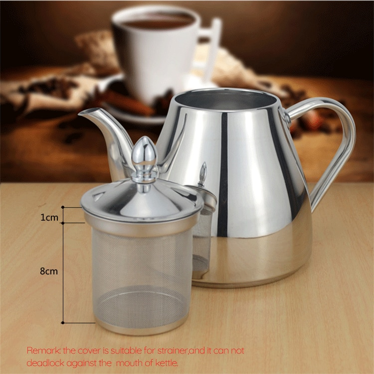Classic Designer Polished Stainless Steel Tea Pot With Tea Strainer Filter Ergonomic Handle Beautiful Art Grade Teapot Comes In 3 Sizes 1.2L, 1.5L & 2.0L