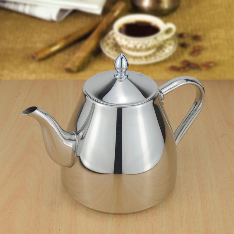Classic Designer Polished Stainless Steel Tea Pot With Tea Strainer Filter Ergonomic Handle Beautiful Art Grade Tea ( (8)