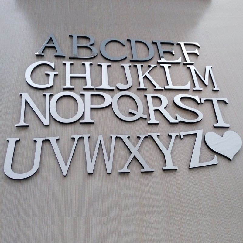 Classy 3D Mirrored Letters 10cm Wall Stickers Creative Wall Decoration For Living Room Bedroom DIY Wall Decor Acrylic Mirrored Letter Stickers