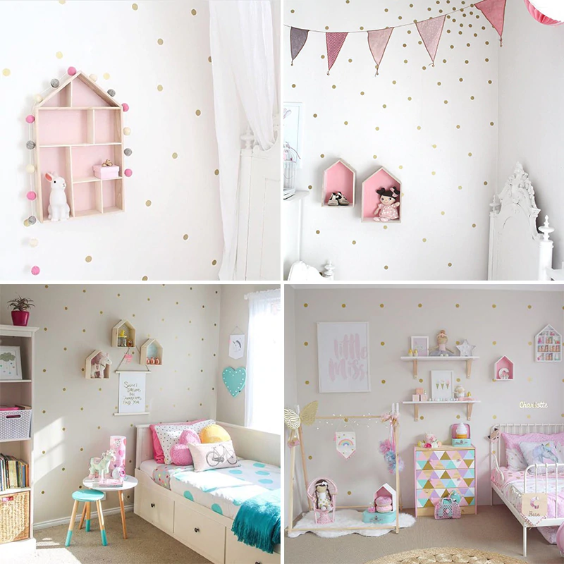Colored Polka Dots Wall Stickers For Kids Room Wall Decor Colorful Nursery Dots Children's Room Wall Art Modern Baby's Room Home Decor