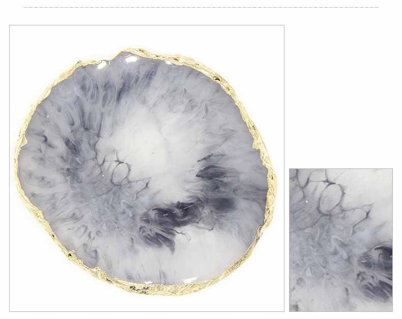 Colored Resin Pineapple Slices Marble Effect Resin Jewelry Display Tray Painted Palette Ornament Base For Elegant Modern Home Decor
