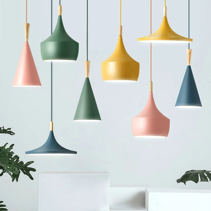 Colorful Nordic Pendant Lamps For Kitchen Dining Room Hotel Bedroom Study Living Room LED Metal Lampshades Contemporary Home Lighting Fixtures