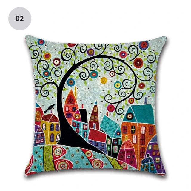 Colorful Nordic Style Abstract Cities 45x45cm Cushion Cover Hand Painted Decorative Pillow Cushion Cases For Living Room Home Decor
