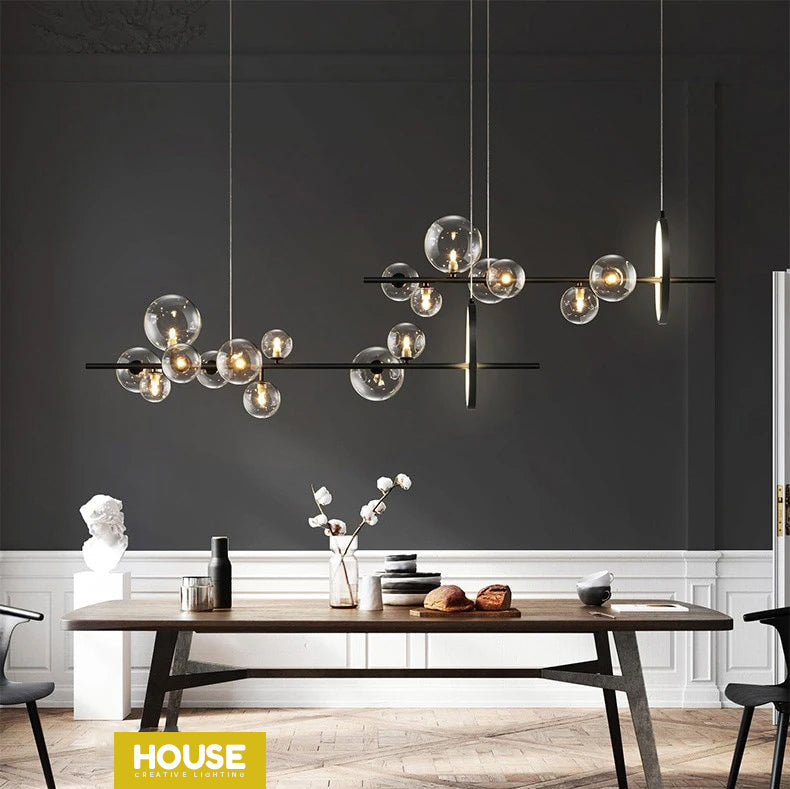 Contemporary Abstract Lighting Chandelier Hanging Light With Clear Glass Spheres Black Frame Luxury LED Lighting Rig For Modern Loft Living Room Home Office Interiors