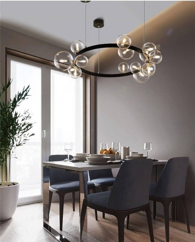Contemporary Abstract Lighting Chandelier Hanging Light Fitting Clear Glass Spheres Black Frame Luxury LED Lighting Rig For Loft Home Office Interiors