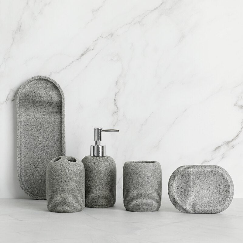 Contemporary Design Bathroom Accessories Liquid Soap Dispenser Toothbrush Holder Hand Soap Tray Tumbler Luxury Washroom Set in Granite Gray and Yellow Sand