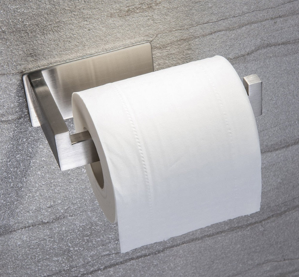 Contemporary Design Toilet Paper Holder Stainless Steel Loo Roll Holder Sturdy Construction Self Adhesive Wall Mounted Fitting With Hook To Hold Roll In Place