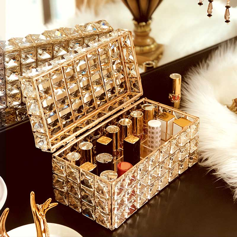 Crystal Bling Makeup Organizer Lipstick Holder Ornamental Dressing Table Jewelry Boxes Makeup Brush Pot Cosmetics Storage Box