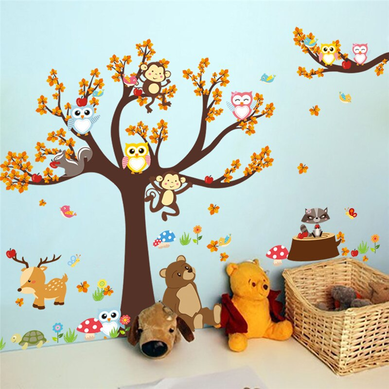 Cute Animals In A Tree Nursery Wall Decal Cartoon Animals Wall Stickers Removable PVC Decals Owl Monkeys Squirrels In Tree Nursery Decor