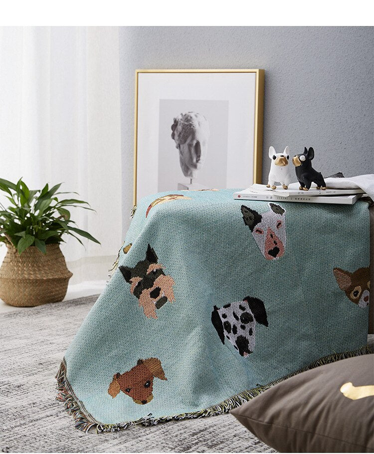 Cute Dog Blanket Sofa Throw Cover For Couch Chairs Cotton Woven Printed Bedspread Throw Picnic Travel Blanket For Pet Dog Owners Animal Lovers