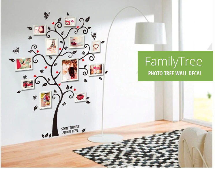 Cute Family Photo Tree 120x100cm Wall Mural Removable PVC Tree With Butterflies Wall Sticker For Displaying Your Favorite Family Photos