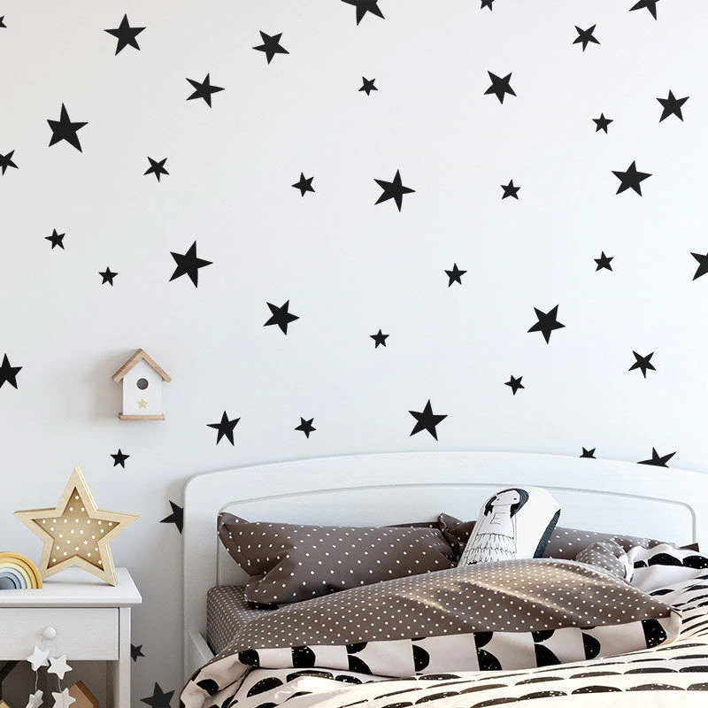 Cute Stars Wall Decals For Nursery Decor Gold Black Silver Blush Pink Star Stickers For Girls And Boys Kid's Room Wall PVC Star Decals