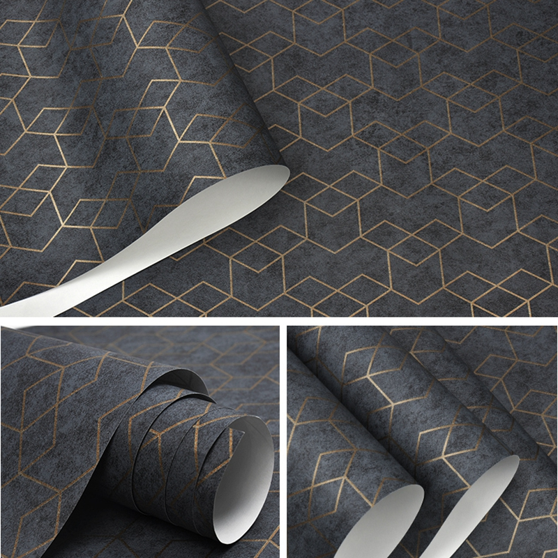Luxury Gold Geometric Dark Gray Wallpaper For Office Home Living Room Shop Boutique Hotel Bar Restaurant Modern Solid Colors Contemporary Design Wall Covering