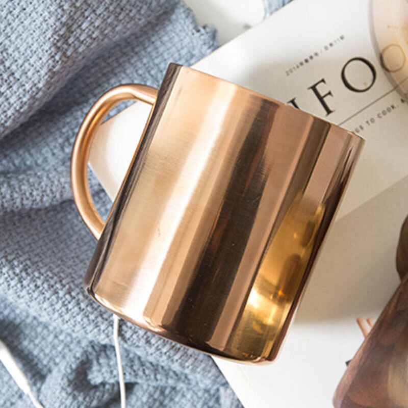 Double Wall Insulated Rose Gold Stainless Steel Hot & Cold Drinks Mug For Tea Coffee Large Beer Tumbler Great For Outdoor Use Stylish Drinkware 450ML