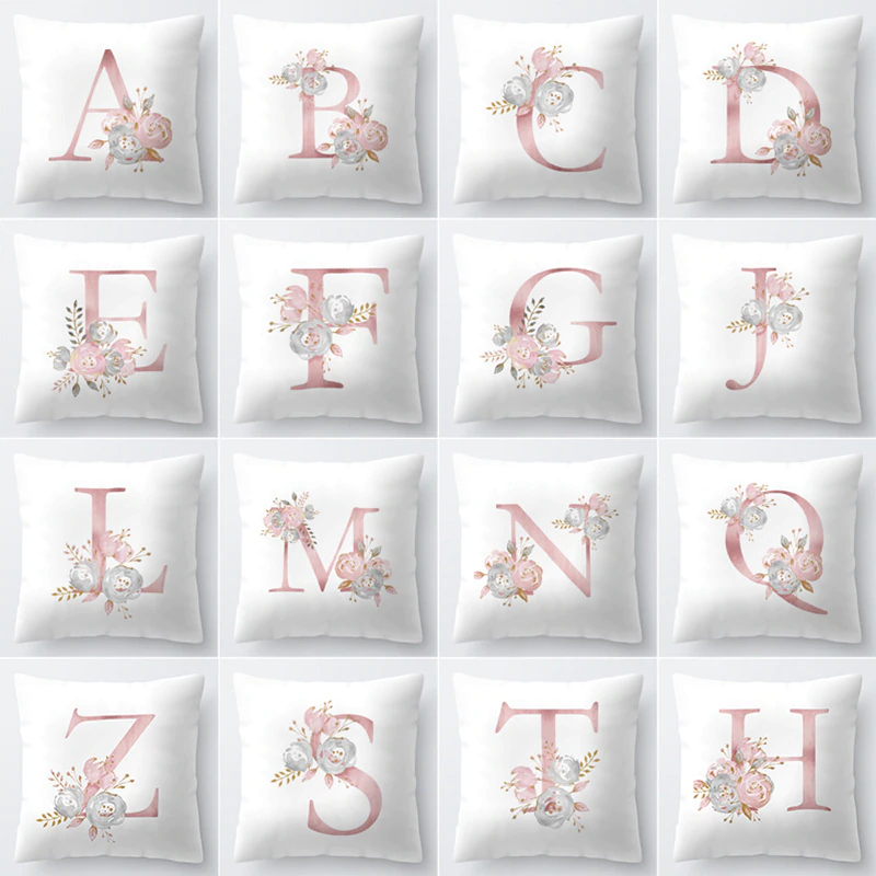 Elegant Floral Letter Cushion Cover 45x45cm Pink & White Room Cushion Cases For Stylish Personalized Living Room Modern Home Decor