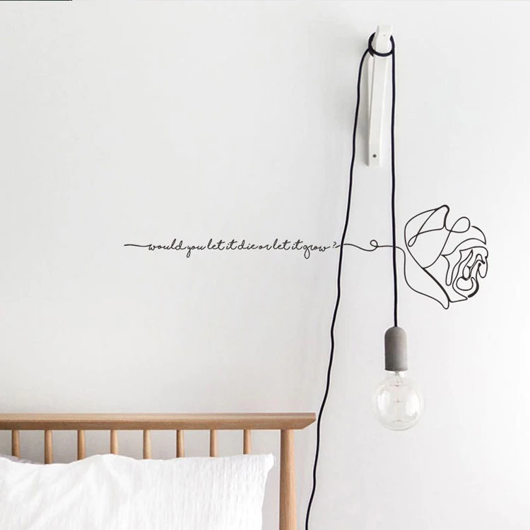 English Rose Wall Decor Inspirational Love Quotation Minimalist Wall Art Decal For Bedroom Dormitory Wall Removable PVC Sticker