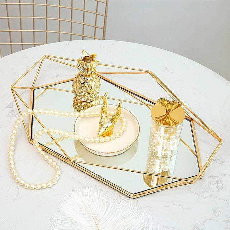 Exquisite Vintage Glass Metal Storage Tray Nordic Geometric Style Elegant Jewelry Display Makeup Organizer Bedroom Glam Home Decor