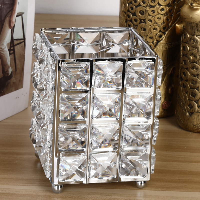 Fashion Bling Cosmetics Storage Pots For Makeup Brushes And Beauty Sundries Dressing Table Accessories For Girls Bedroom Glam Decor