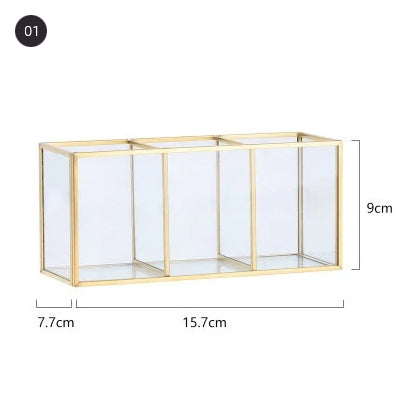 Fashion Glam Desktop Makeup Organizer Glass Storage Box For Cosmetics Jewelry Storage Box For Dressing Room Table Accessories For Girls