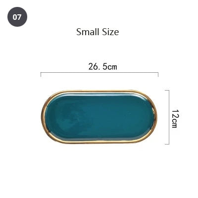 Fashionable Gold Plated Ceramic Marble Storage Trays For Kitchen Serving Dishes For Desserts Snacks Modern Kitchen Tableware
