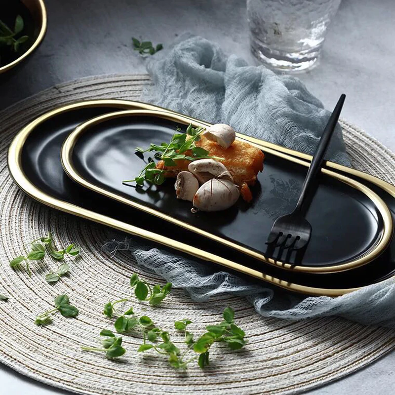 Fashionable Gold Plated Ceramic Marble Storage Trays For Kitchen Serving Dishes For Fruit Desserts Snacks Modern Kitchenware Accessories