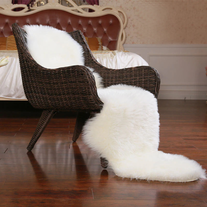 Furry Faux Sheepskin Rug Sumptuous Shaggy Fake Fur Rug For Bedroom Living Room Non-Slip White Black Beige Plush Sheepskin Mat