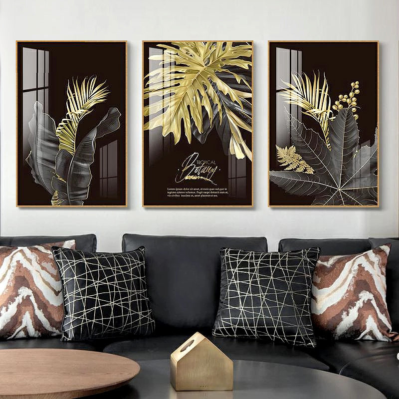 Black Golden Palms Tropical Botany Wall Art Fine Art Canvas Prints Stylish Pictures For Modern Loft Living Room Home Office Luxury Wall Interiors Wall Art Decor