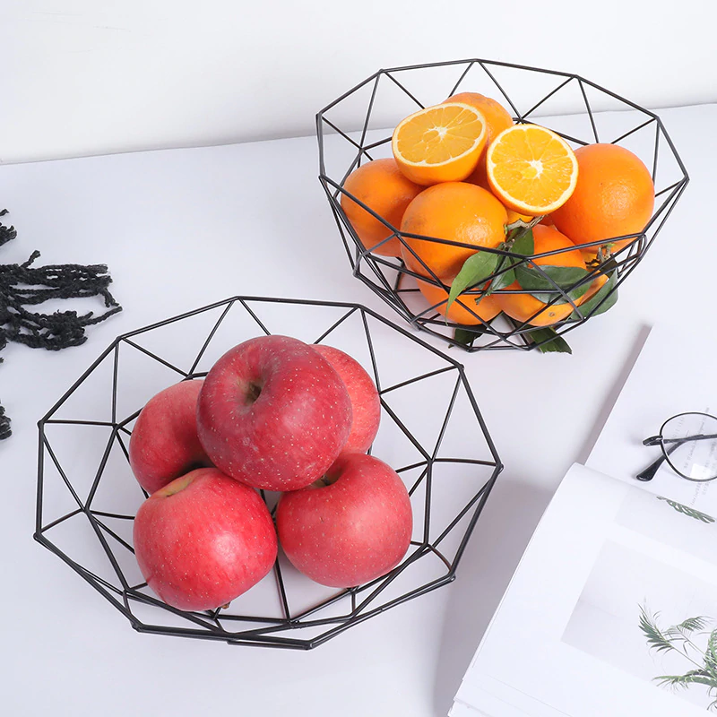 Geometric Metalwork Fruit Baskets Nordic Style Iron Art Tabletop Storage Bowls For Fruit And Snacks Modern Kitchenware Decor