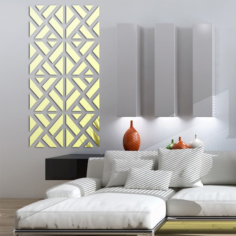 Geometric Mosaic Mirror Wall Mural Removable Mirrored Acrylic Wall Stickers Creative Artistic DIY For Living Room Bedroom Wall Decoration