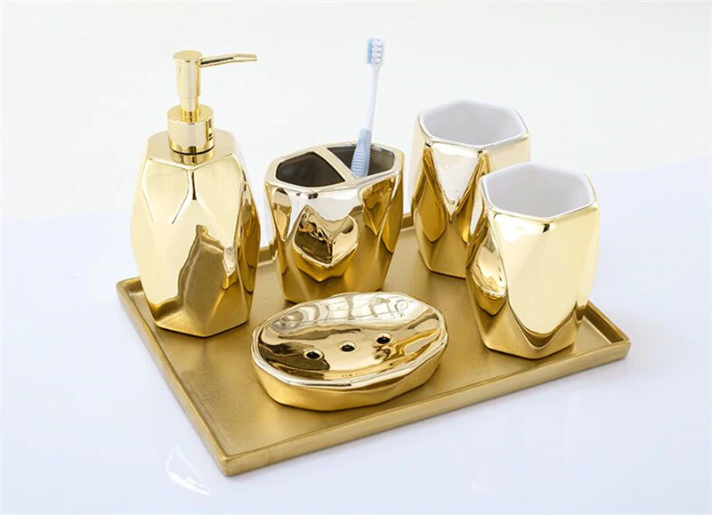 Gold Ceramic Bathroom Accessories Set Liquid Soap Dispenser Toothbrush Pot Mouthwash Cup Soap Dish 5 Piece Set With Gold Tray Option