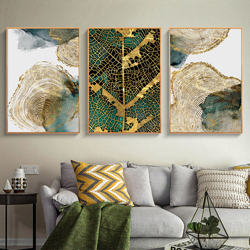 Gold Leaf Woodcut Abstract Wall Art Painting Gold Brown Green Fine Art Canvas Prints Contemporary Pictures For Modern Home Office Interiors