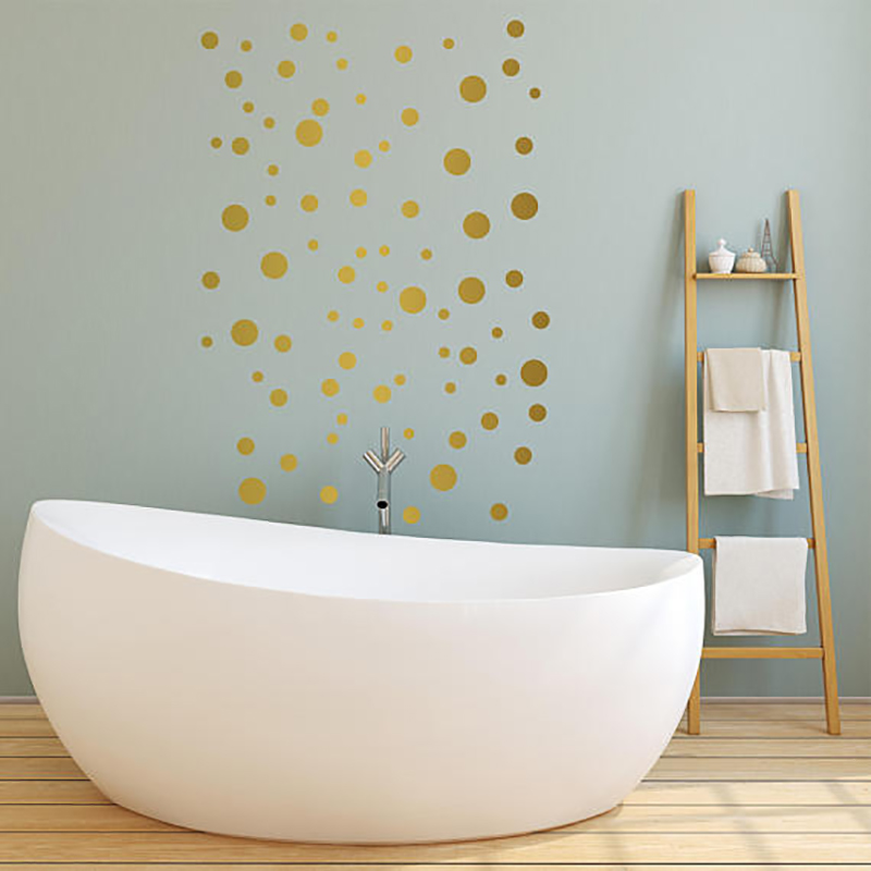 Gold Polka Dots Baby's Room Wall Decor Stickers Nursery Room Decor Children's Bedroom Removable Wall Decals Creative Wall Art