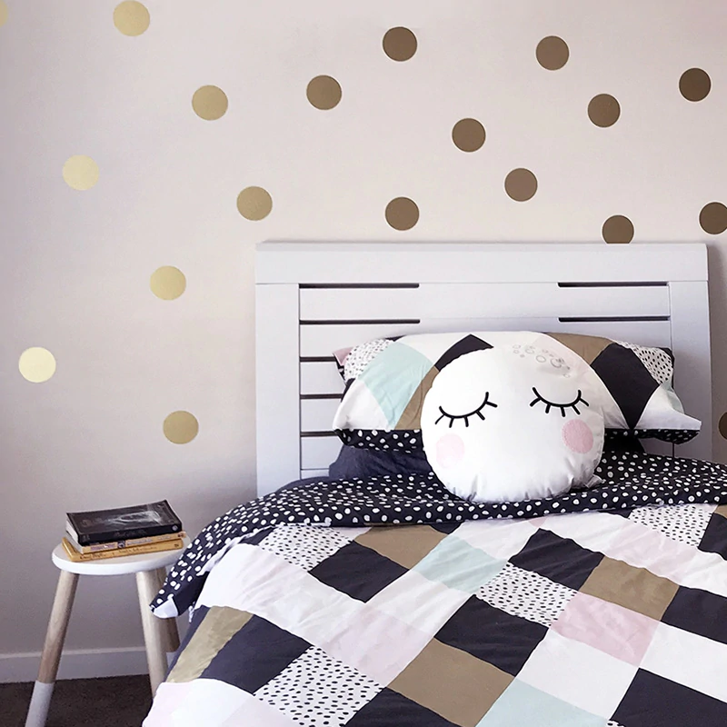 Gold Polka Dots Wall Stickers For Kids Room Wall Decor Colorful Nursery Dots House Boutique