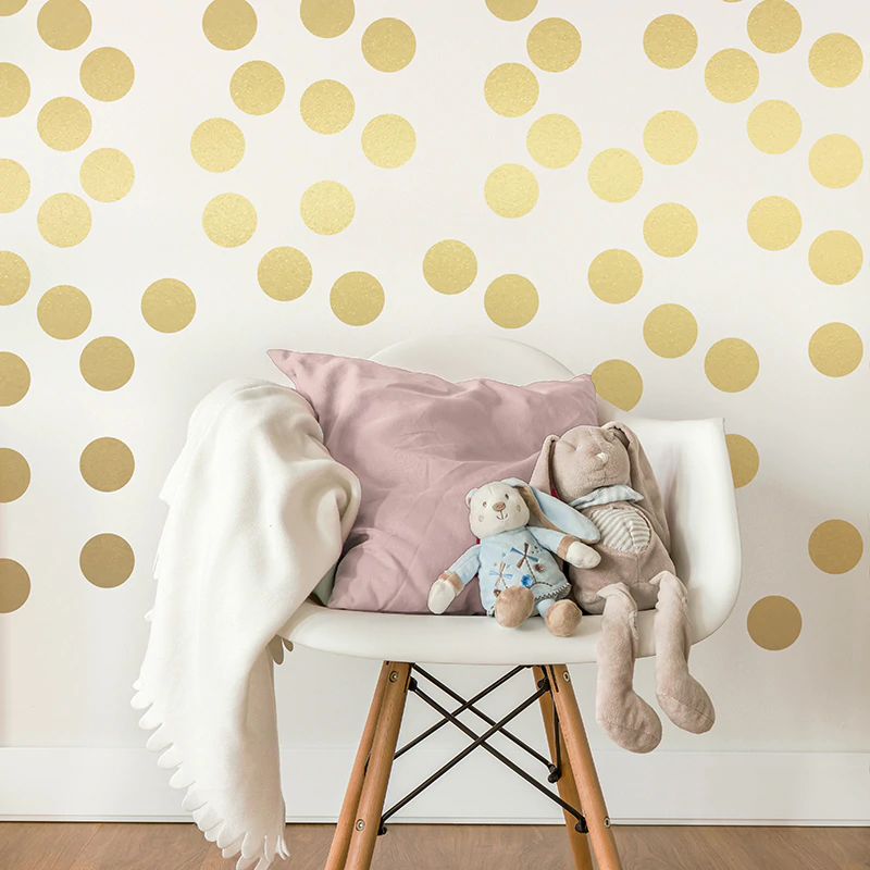 Gold Polka Dots Wall Stickers For Kids Room Wall Decor Colorful Nursery Dots Children's Room Wall Art Modern Baby's Room Home Decor
