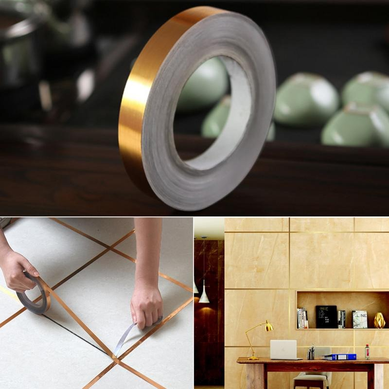 Gold Silver Seam For Walls Floor Tiles Self Adhesive Waterproof Strip For Creating Attractive DIY Lines Borders And Seams On Tiled Floors And Walls
