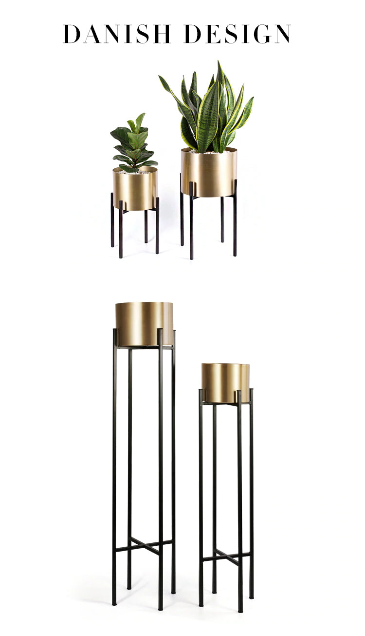 Gold Steel Flower Pot Metallic Gold Metal House Plant Floor Stand With Plant Pots Modern Home Plants Accessories For Living Room Decor