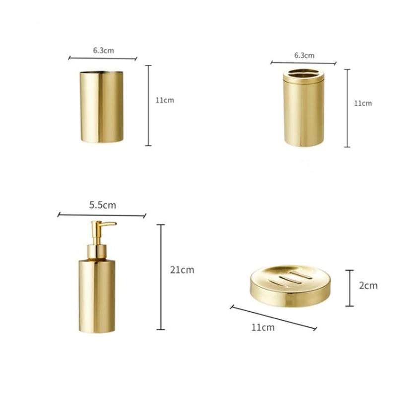 Golden Bronze Stainless Steel Bathroom Accessories Kit Toothbrush Holder Soap Dish & Dispenser Smooth Gold Finished Bathroom Set.