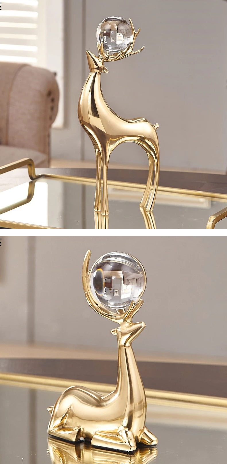 Auspicious Golden Deer Statuette Crystal Ball Embellished Copper Casting Metal Crafts Ornamental Figurines For Luxury Living Room Home Decor