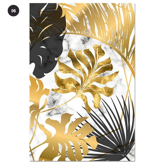 Golden Leaves On Marble Background Fine Art Canvas Prints Tropical Botanical Nordic Style Modern Luxury Lifestyle Wall Art