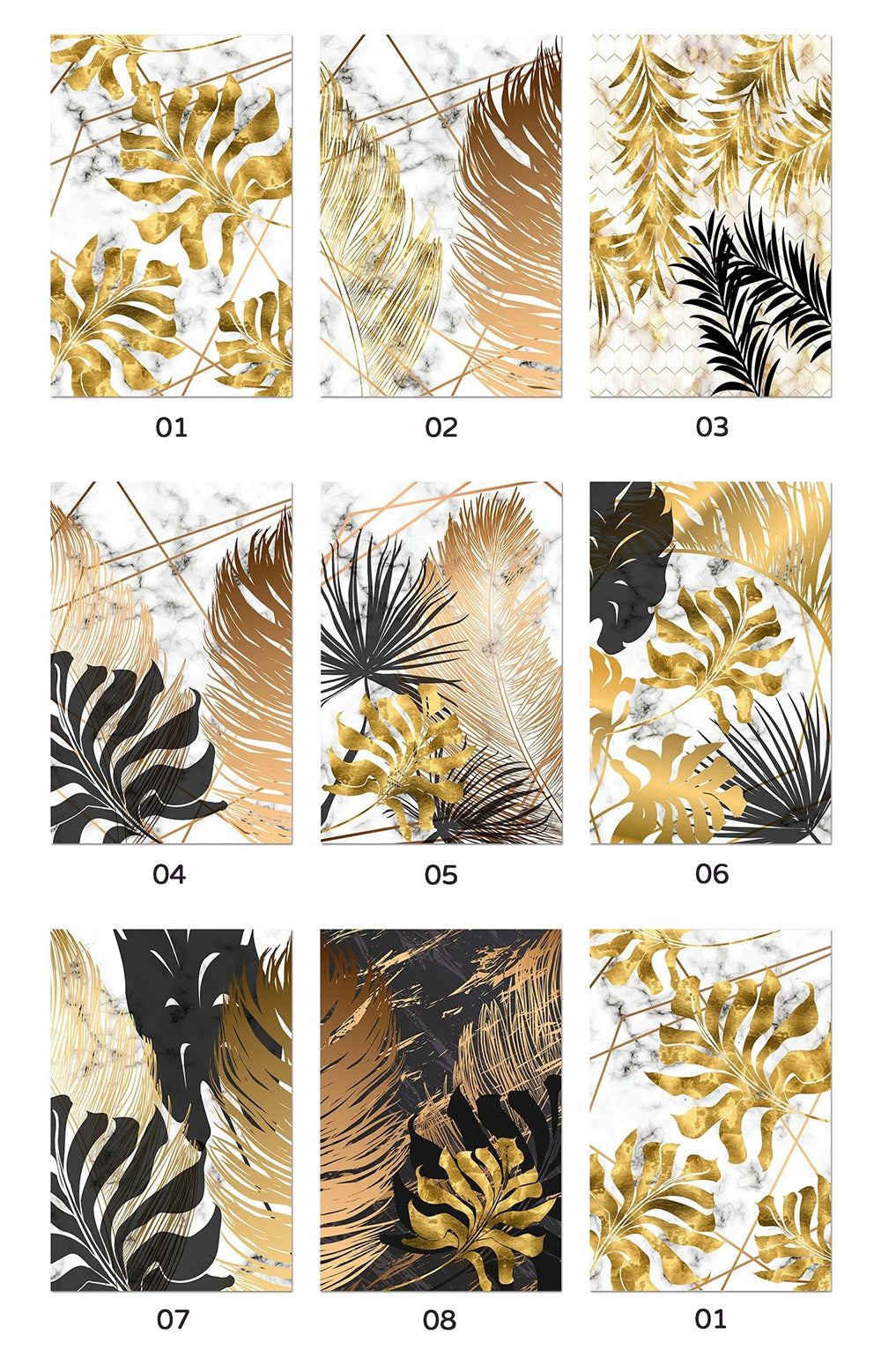 Golden Leaves On Marble Background Fine Art Canvas Prints Tropical Botanical Nordic Style Modern Luxury Lifestyle Wall Art For Living Room Dining Room Home Decor
