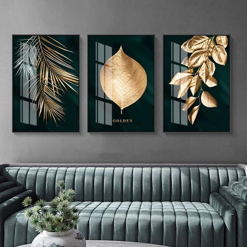 Golden Leaves Wall Art Minimalist Abstract Botanical Fine Art Canvas Prints Modern Pictures For Living Room Dining Room Hotel Home Office Interior Decor