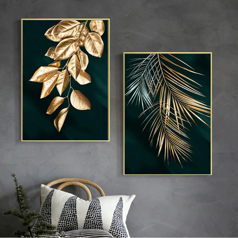 Golden Leaves Wall Art Minimalist Abstract Botanical Fine Art Canvas Prints Modern Pictures For Living Room Dining Room Hotel Restaurant Home Office Interior Decor