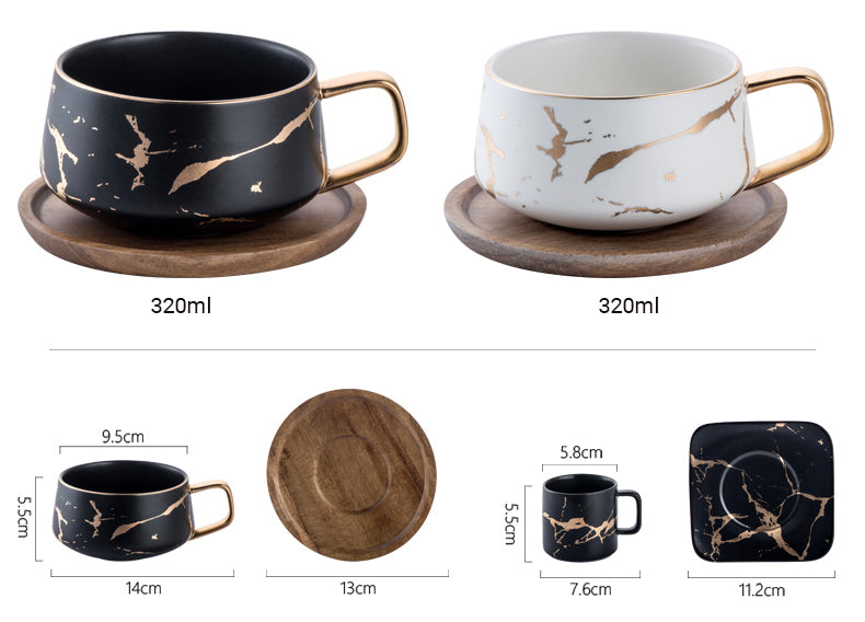 Golden Marble Italian Coffee Mug Ceramic Cup For Morning Coffee Or Afternoon Tea Cup Sets Available In 3 Sizes With Saucer And Lid Options