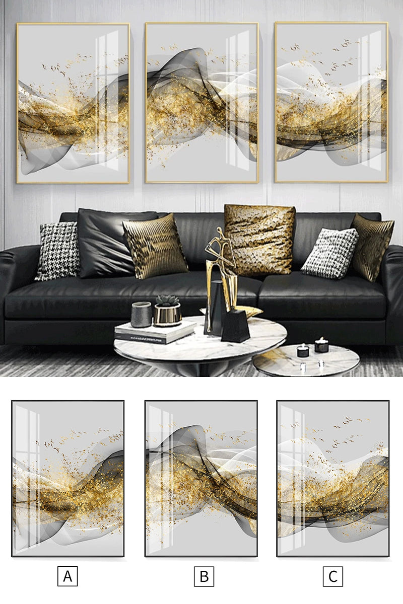 Golden Mountain Abstract Wall Art Fine Art Canvas Print Minimalist White Black Geometric Flowing Design Luxury Pictures For Modern Loft Apartment Living Room Office Wall Art Decor