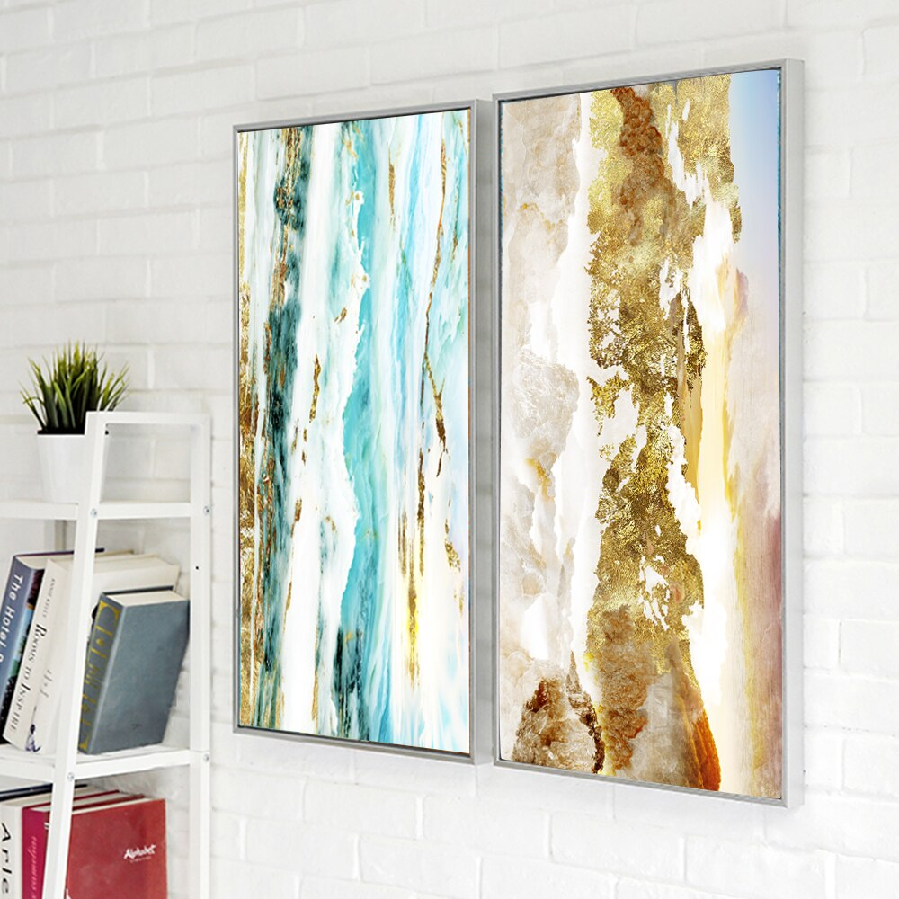 Golden Sunset Abstract Wall Fine Art Canvas Giclee Print Warm Hues Blue Beige Pictures For Living Room Bedroom Home Office Modern Interior Decoration