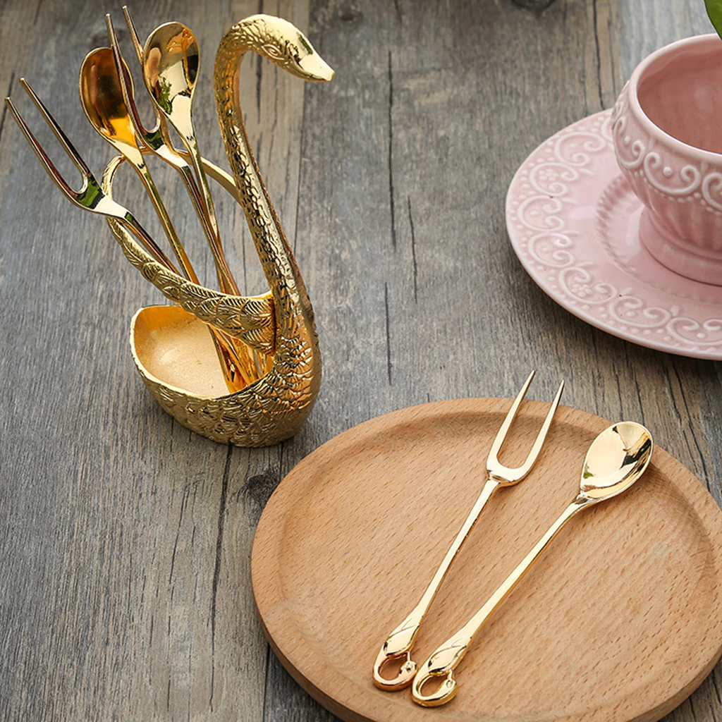 Golden Swan Salad Serving Set Gold Silver Or Bronze Swan Base Holder With 7 Pcs Set Stainless Steel Salad Forks Coffee Dessert Spoons
