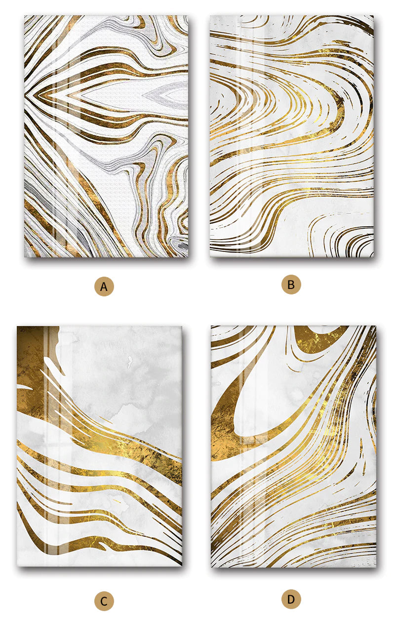 Golden Swirls Modern Abstract Wall Art White Gold Fine Art Canvas Prints Contemporary Art Decor Pictures For Bedroom Living Room Modern Home Interiors