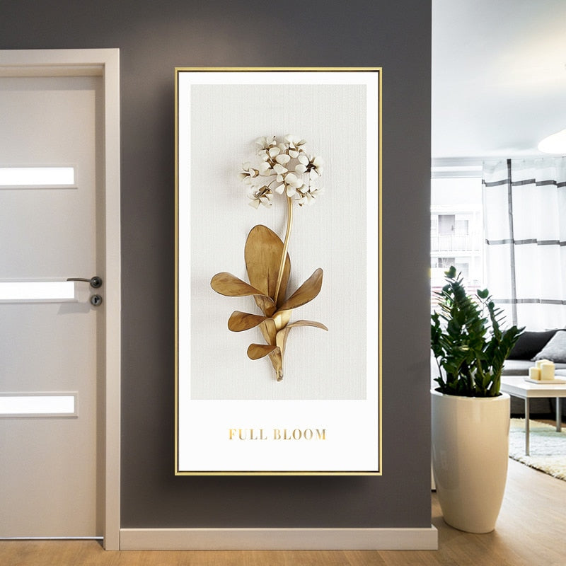 Golden White Flowers Wall Art Fine Art Canvas Prints Modern Contemporary Botanical Wall Art For Living Room Bedroom Dining Room Home Interior Decor